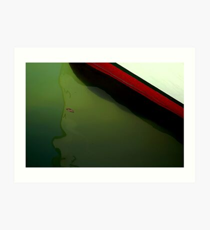 ~A boat, a leaf and some tiny little fish~ Art Print