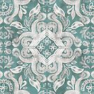 Teal and grey dirty denim textured boho pattern by micklyn
