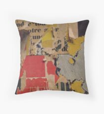 ready made collage from Paris metró- Pink and yellow signed Throw Pillow