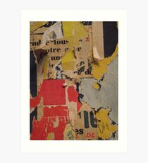 ready made collage from Paris metró- Pink and yellow signed Art Print