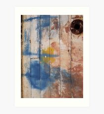 Ready made Painting in Boat Yard, Simi Greece - Blue, red and yellow with hole Art Print