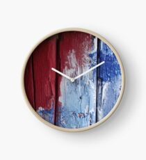Ready made Painting in Greece - Red and blue splodges, signed Clock