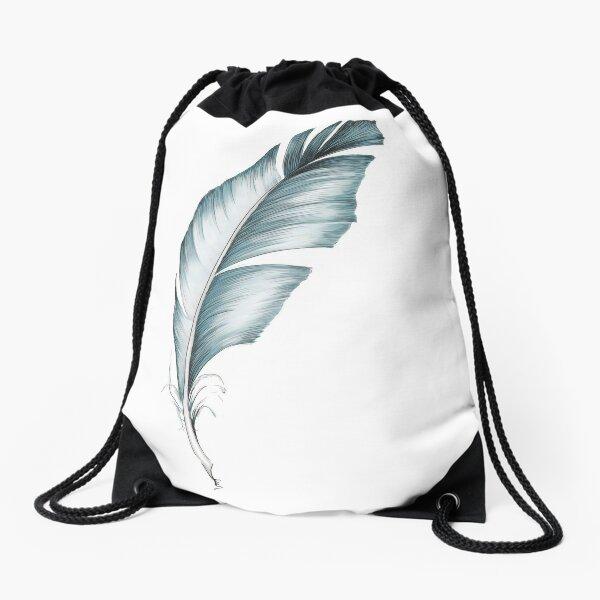 Blue feather Drawstring Bag