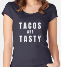 Tacos are tasty - white Women's Fitted Scoop T-Shirt