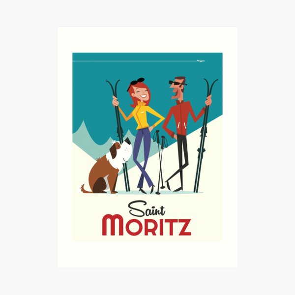 St Moritz ski poster Art Print