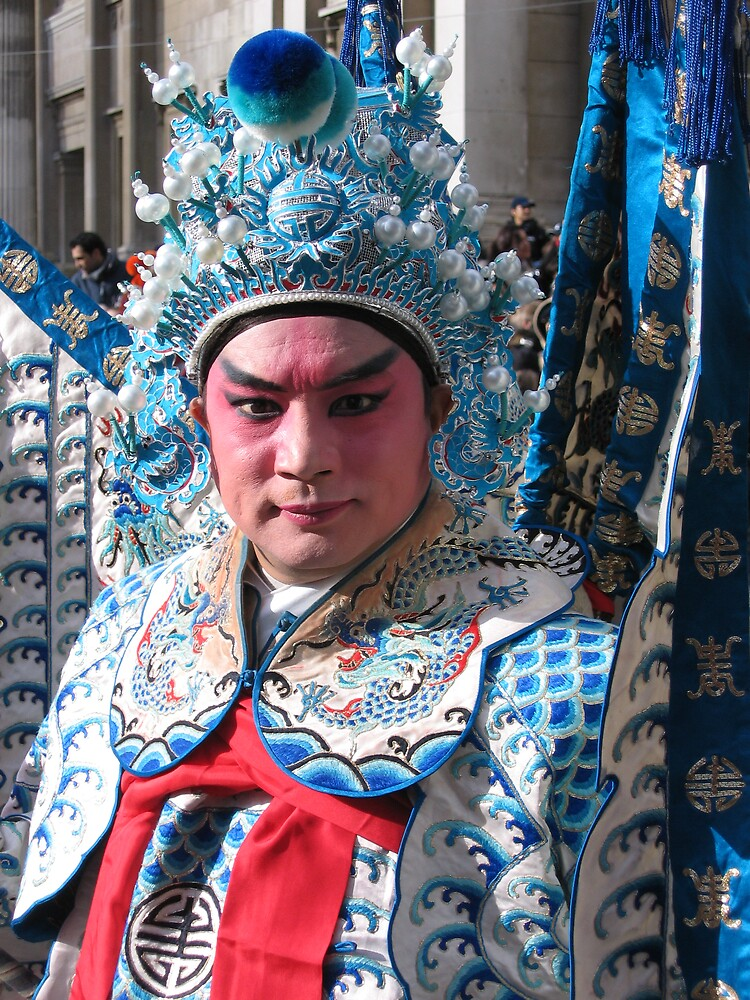 Costumed man in Chinese New Year parade by Caitlin Fitzsimmons