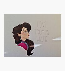 """""""Love Trumps Hate"""" with light beam and white background Photographic Print"""