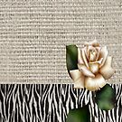 Chic Zebra print rustic burlap botanical floral white rose  by lfang77