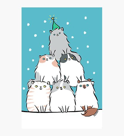 Kitty Cat Christmas Tree Photographic Print