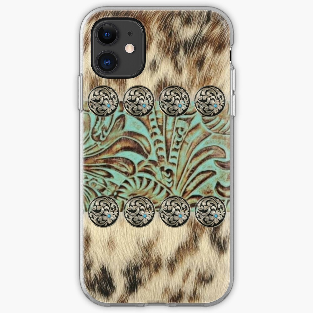Rustic brown cowhide teal western country tooled leather  iPhone Case & Cover