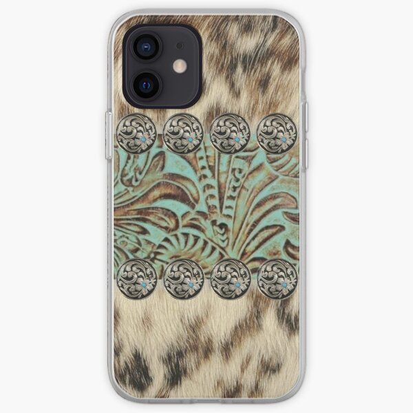 Rustic brown cowhide teal western country tooled leather  iPhone Soft Case