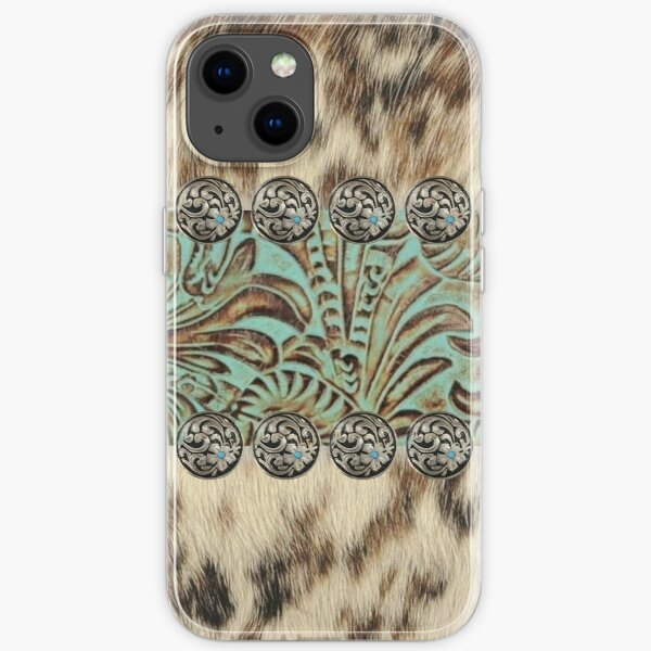 Rustic brown beige teal western country cowboy fashion iPhone Soft Case