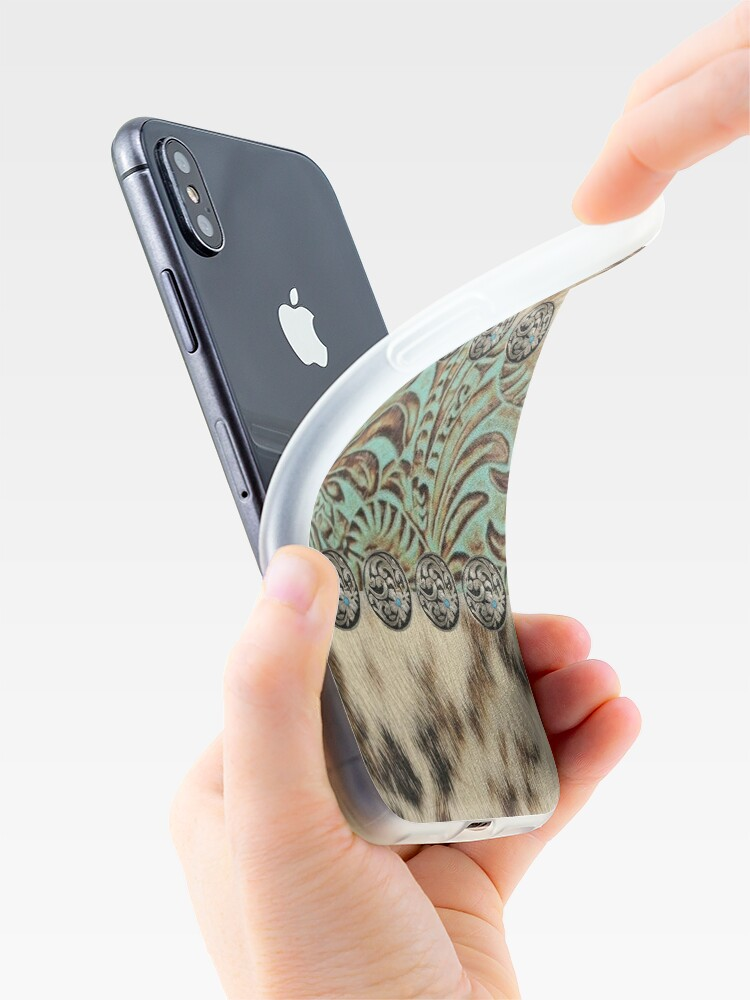 Alternate view of Rustic brown cowhide teal western country tooled leather  iPhone Case & Cover