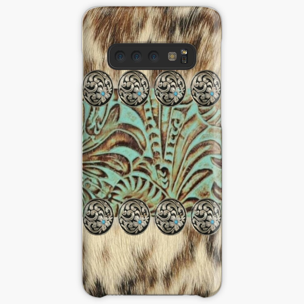 Rustic brown cowhide teal western country tooled leather  Case & Skin for Samsung Galaxy