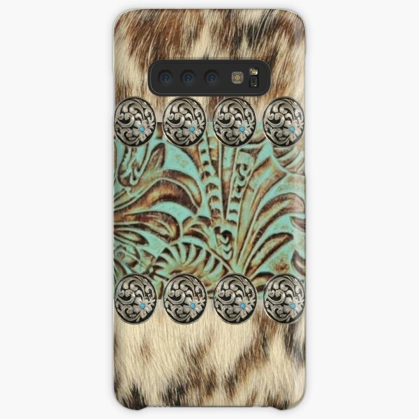 Rustic brown cowhide teal western country tooled leather  Samsung Galaxy Snap Case