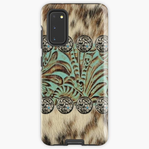Rustic brown cowhide teal western country tooled leather  Samsung Galaxy Tough Case