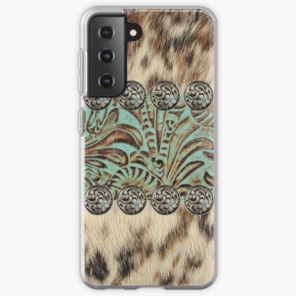 Rustic brown beige teal western country cowboy fashion Samsung Galaxy Soft Case