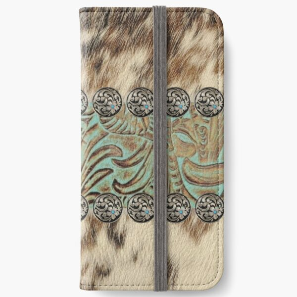 Rustic brown cowhide teal western country tooled leather  iPhone Wallet