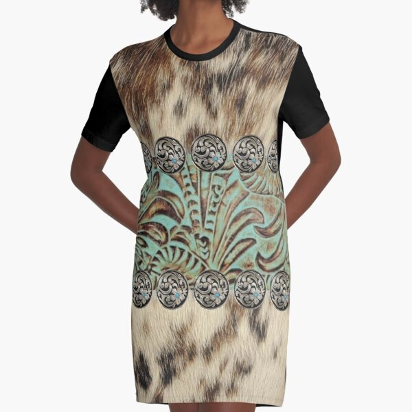 Rustic brown beige teal western country cowboy fashion Graphic T-Shirt Dress