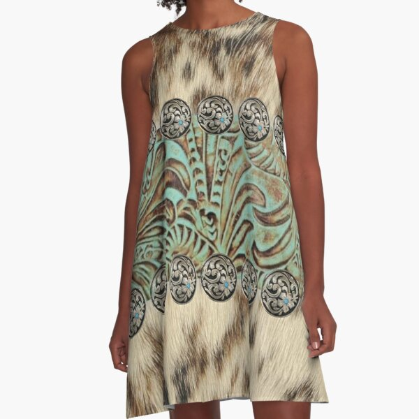 Rustic brown beige teal western country cowboy fashion A-Line Dress