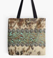 Rustic brown cowhide teal western country tooled leather  Tote Bag