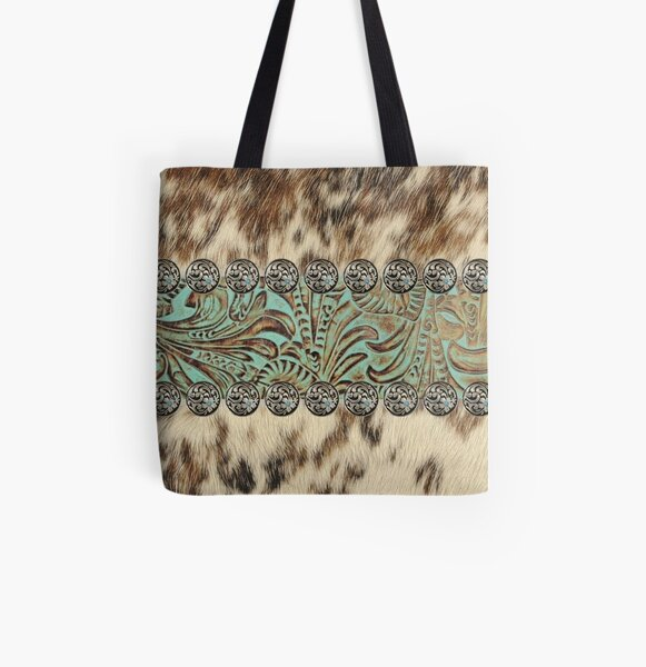Rustic brown cowhide teal western country tooled leather  All Over Print Tote Bag