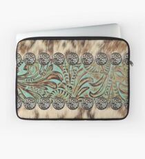 Rustic brown cowhide teal western country tooled leather  Laptop Sleeve