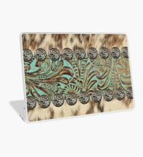 Rustic brown cowhide teal western country tooled leather  Laptop Skin