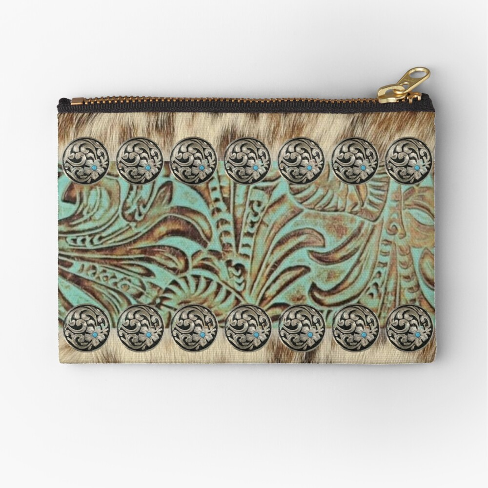 Rustic brown beige teal western country cowboy fashion Zipper Pouch