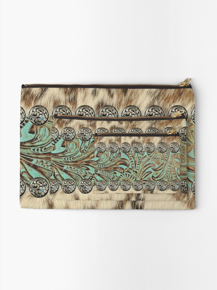 Alternate view of Rustic brown beige teal western country cowboy fashion Zipper Pouch