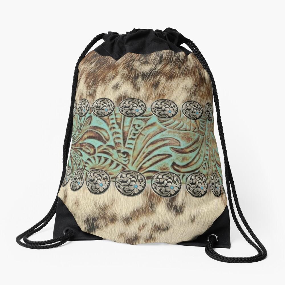 Rustic brown beige teal western country cowboy fashion Drawstring Bag