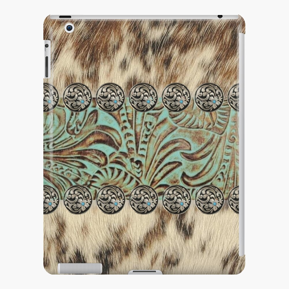 Rustic brown cowhide teal western country tooled leather  iPad Case & Skin