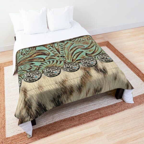 Rustic brown cowhide teal western country tooled leather  Comforter