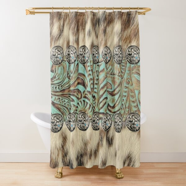 Rustic brown beige teal western country cowboy fashion Shower Curtain
