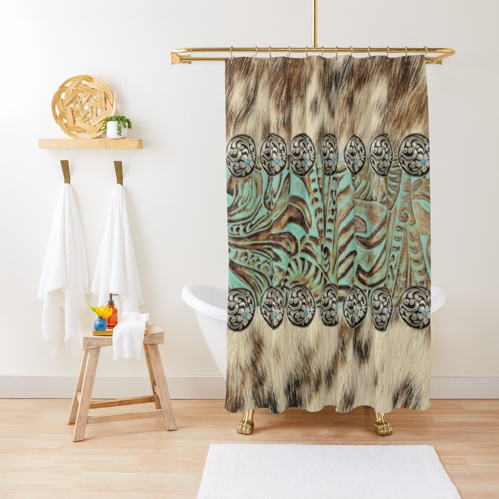 Rustic brown cowhide teal western country tooled leather  Shower Curtain