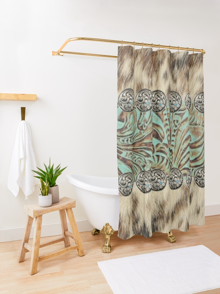 Alternate view of Rustic brown cowhide teal western country tooled leather  Shower Curtain