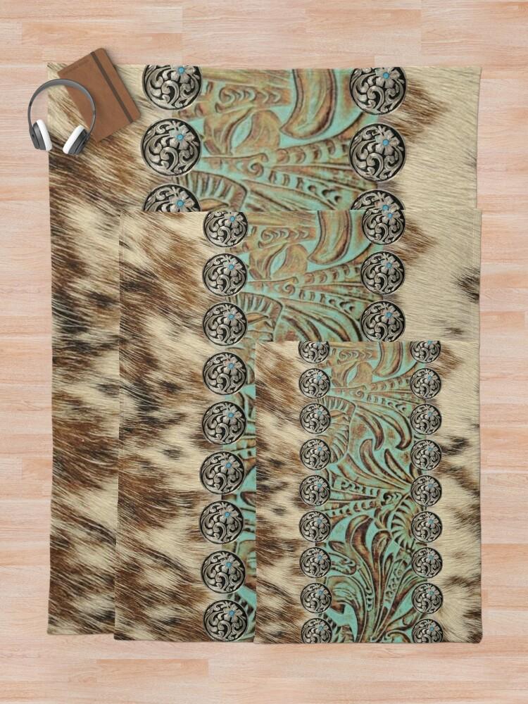 Alternate view of Rustic brown cowhide teal western country tooled leather  Throw Blanket