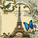 Shabby chic Wanderlust French Butterfly Paris Eiffel Tower by lfang77
