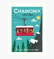 Chamonix Mont Blanc Ski Poster Kunstdruck