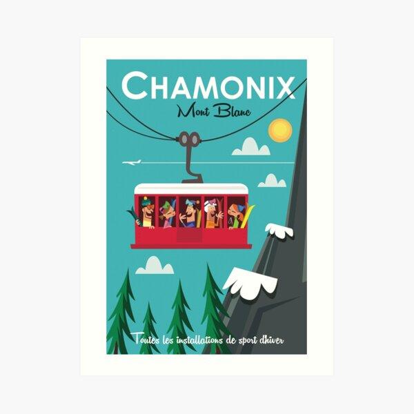 Chamonix Mont blanc ski poster Art Print