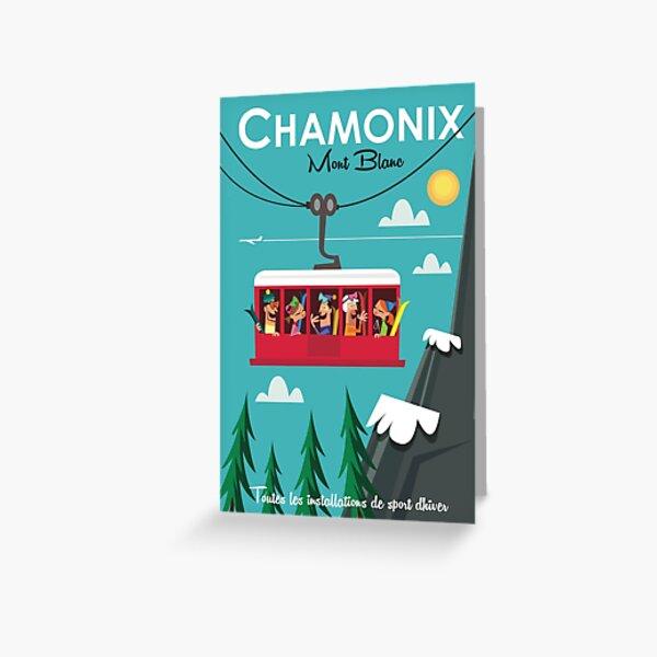 Chamonix Mont blanc ski poster Greeting Card