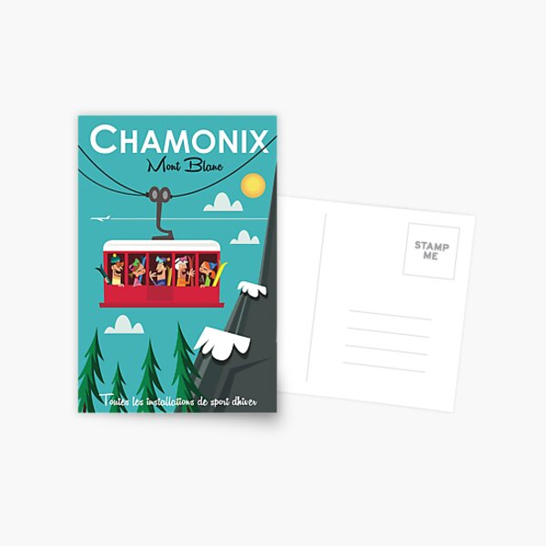 Chamonix Mont blanc ski poster Postcard