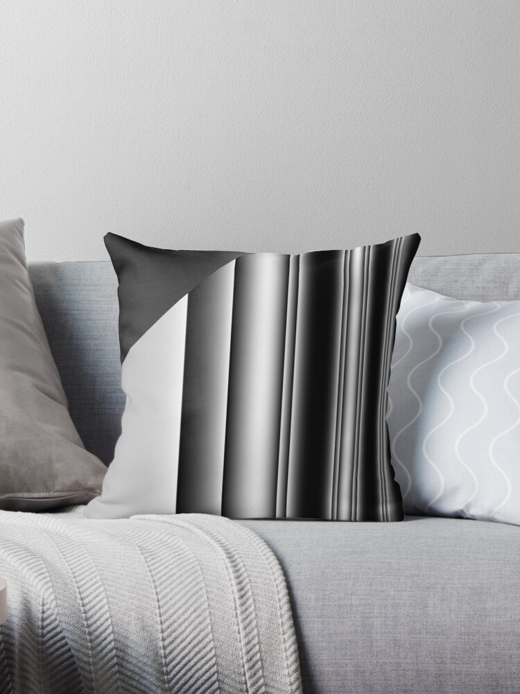 CONTEMPORARY BLACK AND WHITE AND GREY FRACTURED STRIPE  by ozcushionstoo