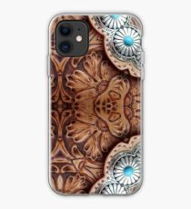 Türkis braun Cowboy Stammes-Western-Land Tooled Leder iPhone-Hülle & Cover