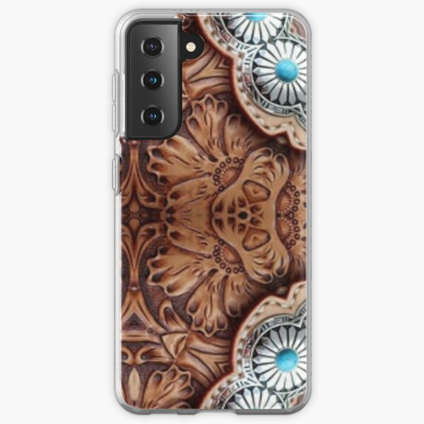 turquoise brown cowboy tribal Western country Tooled Leather Samsung Galaxy Soft Case