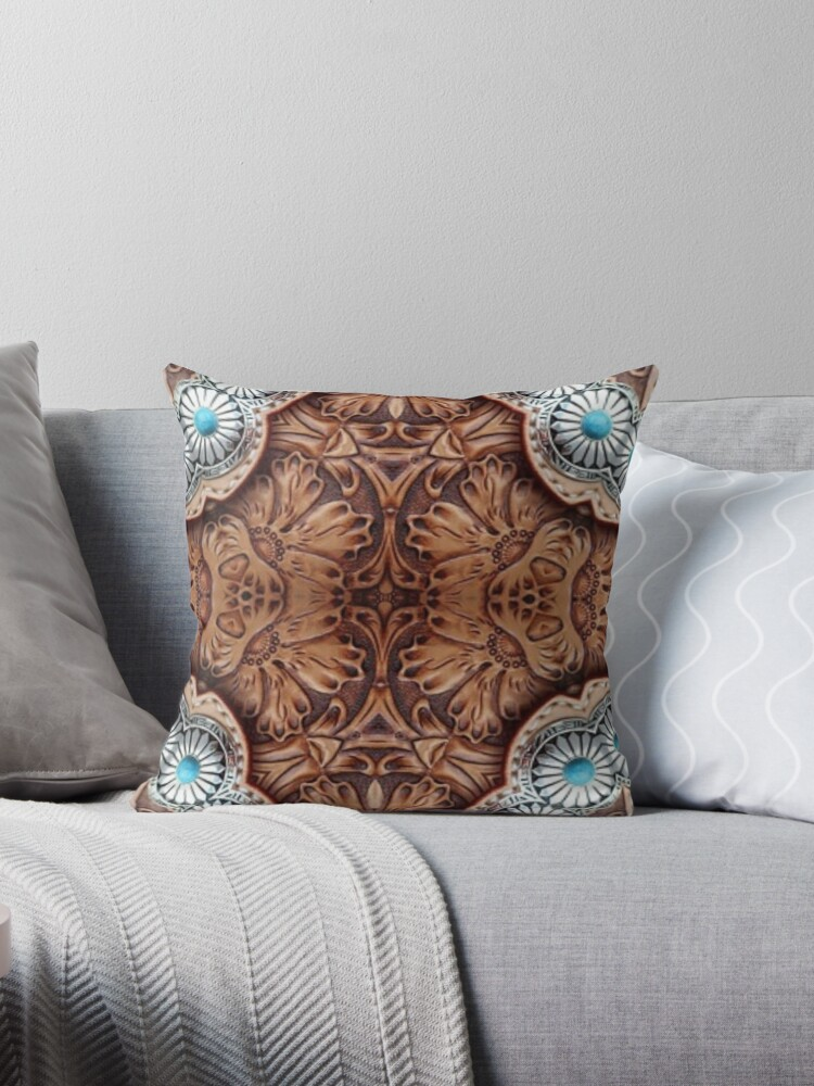 Quot Turquoise Brown Cowboy Tribal Western Country Tooled