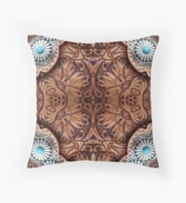 turquoise brown cowboy tribal Western country Tooled Leather Throw Pillow