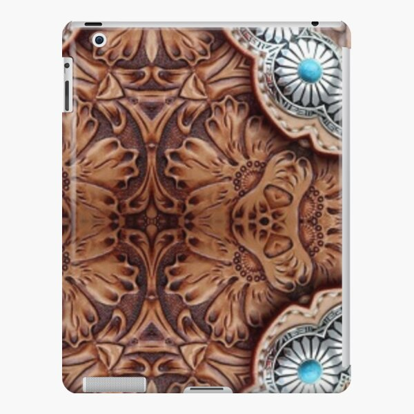 turquoise brown cowboy tribal Western country Tooled Leather iPad Snap Case