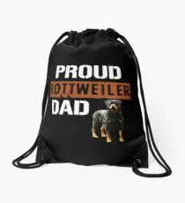 Proud Rottweiler Dad Drawstring Bag