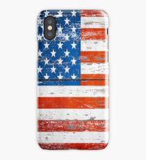 Primitive Barn Wood Grain grunge USA American Flag  iPhone Case/Skin